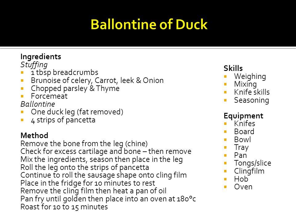 Ballontine of Duck Ingredients Stuffing 1 tbsp breadcrumbs