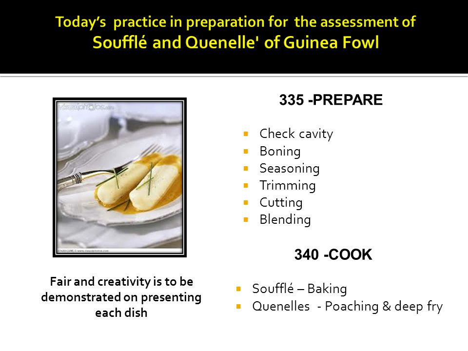 Fair and creativity is to be demonstrated on presenting each dish