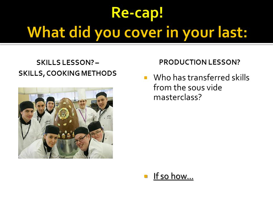 Re-cap! What did you cover in your last: