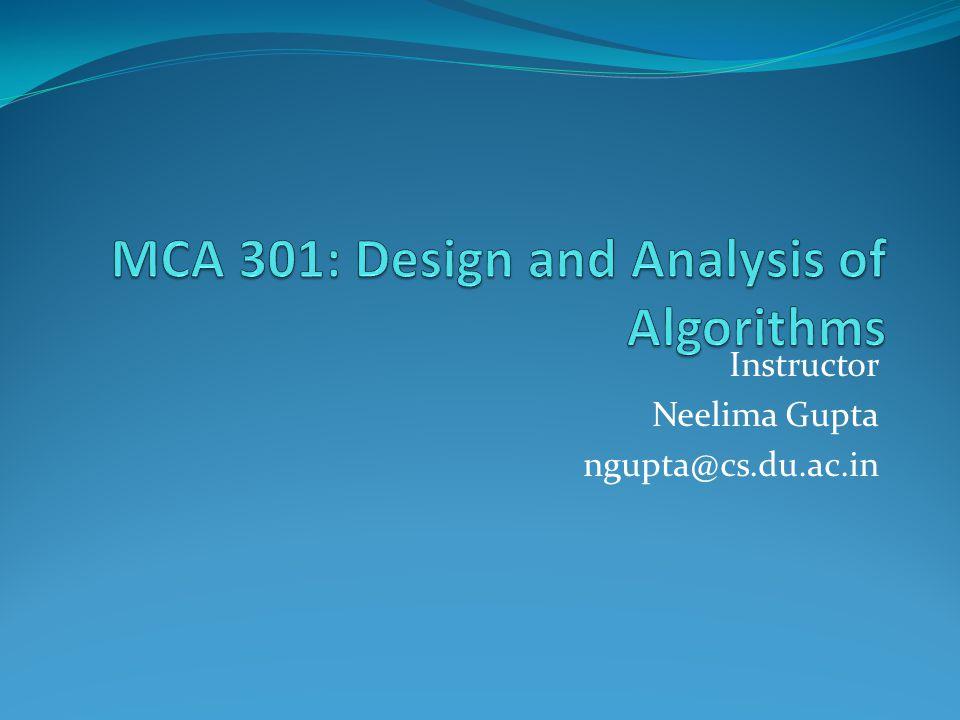 MCA 301: Design and Analysis of Algorithms