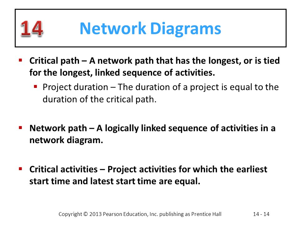 Network Diagrams Critical path – A network path that has the longest, or is tied for the longest, linked sequence of activities.