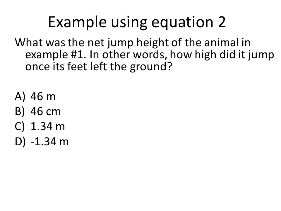 Example using equation 2