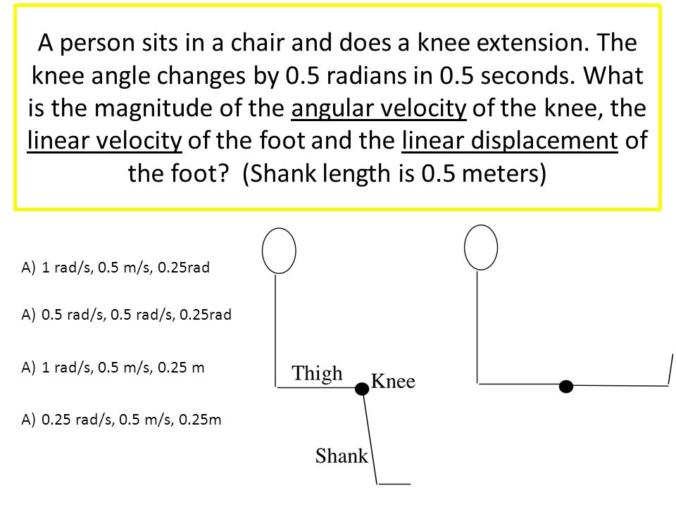 A person sits in a chair and does a knee extension