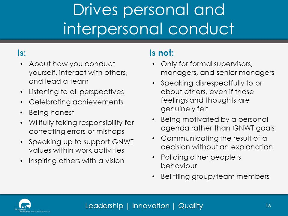 Drives personal and interpersonal conduct