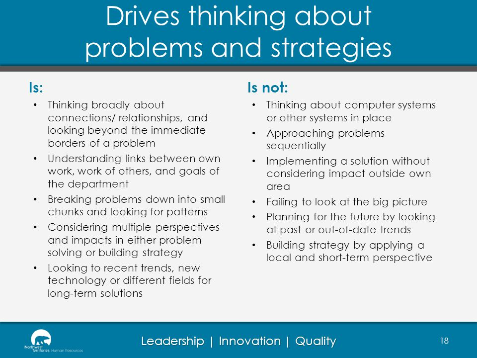 Drives thinking about problems and strategies