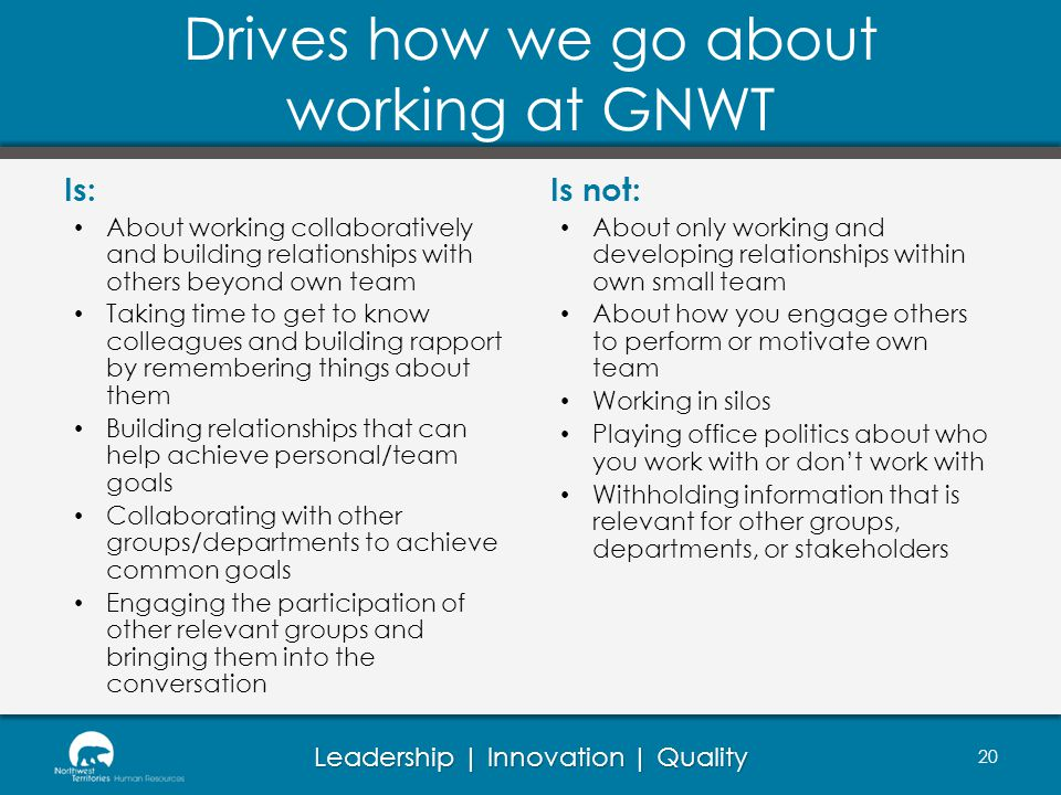 Drives how we go about working at GNWT