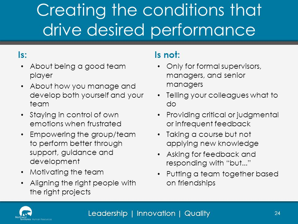 Creating the conditions that drive desired performance