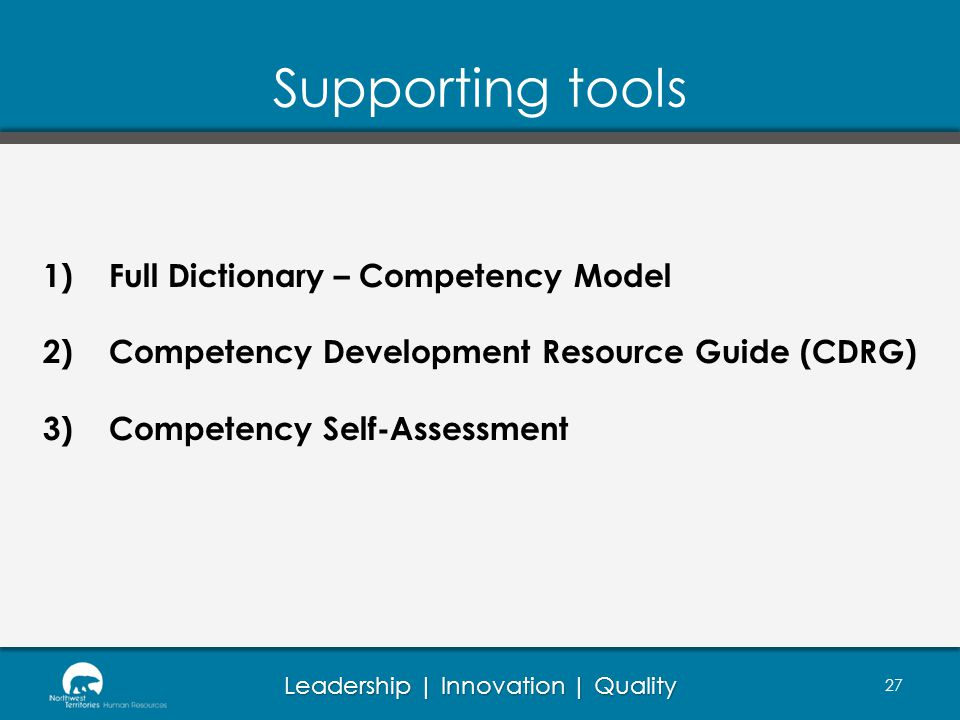 Supporting tools Full Dictionary – Competency Model
