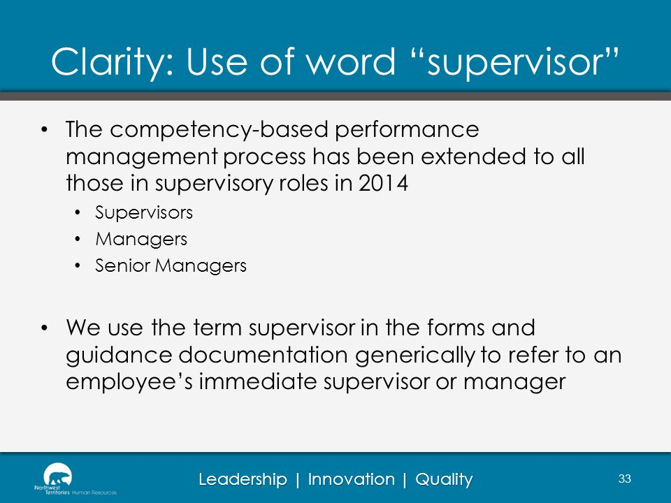 Clarity: Use of word supervisor