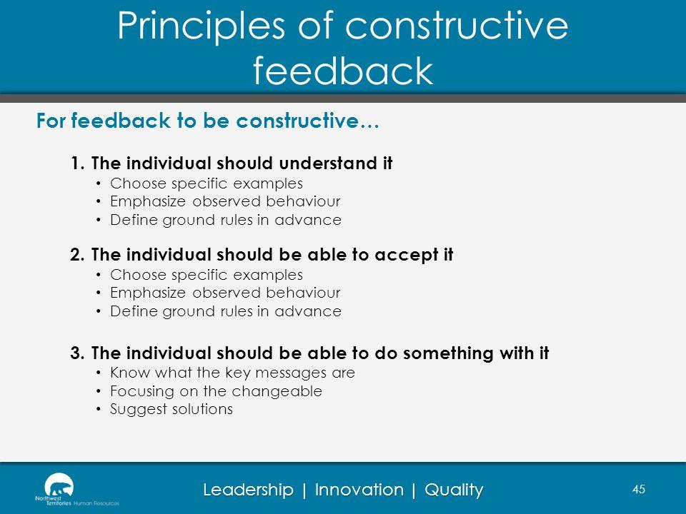 Principles of constructive feedback