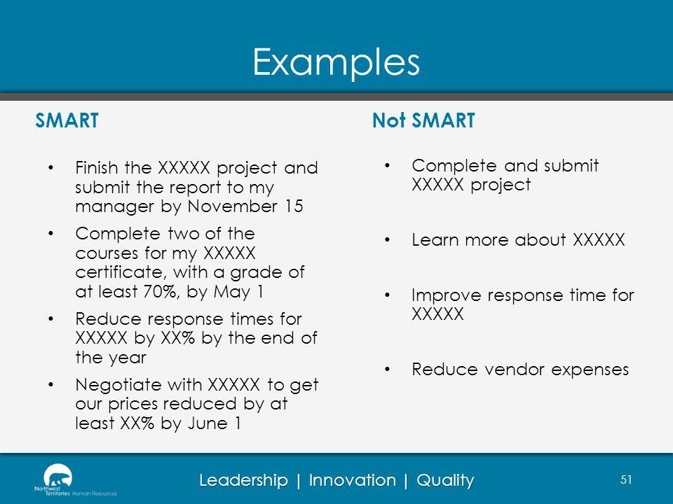 Examples SMART Not SMART