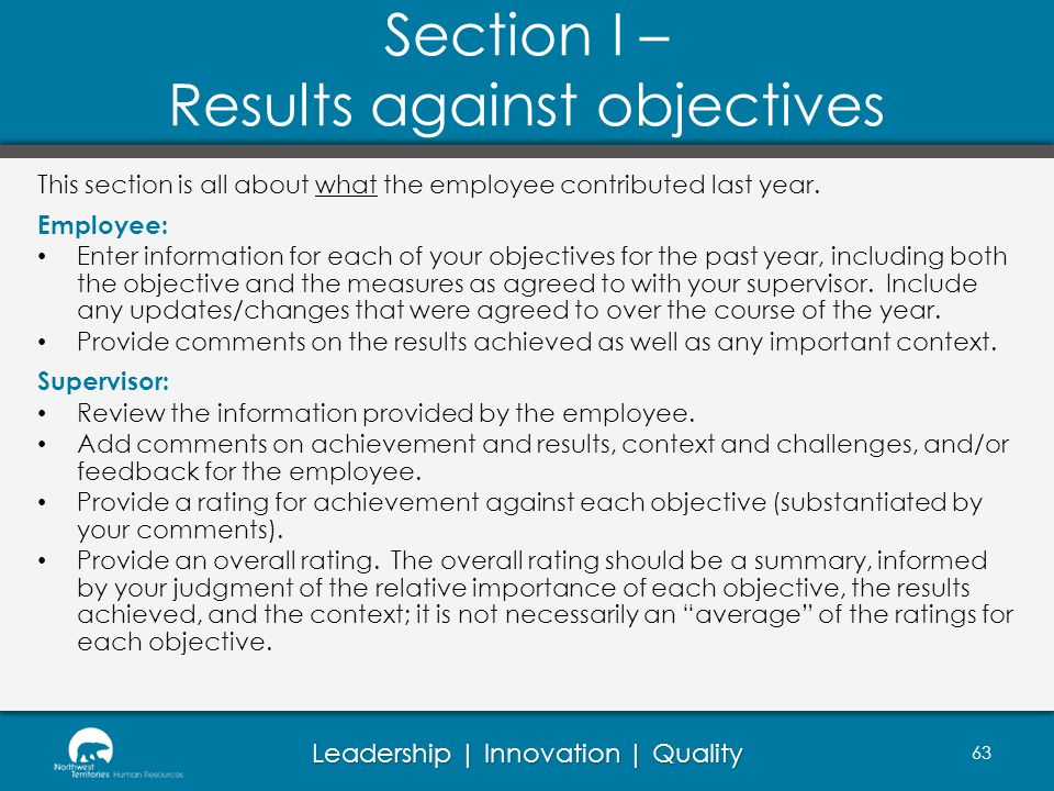 Section I – Results against objectives