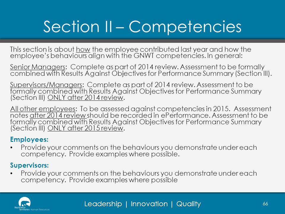 Section II – Competencies