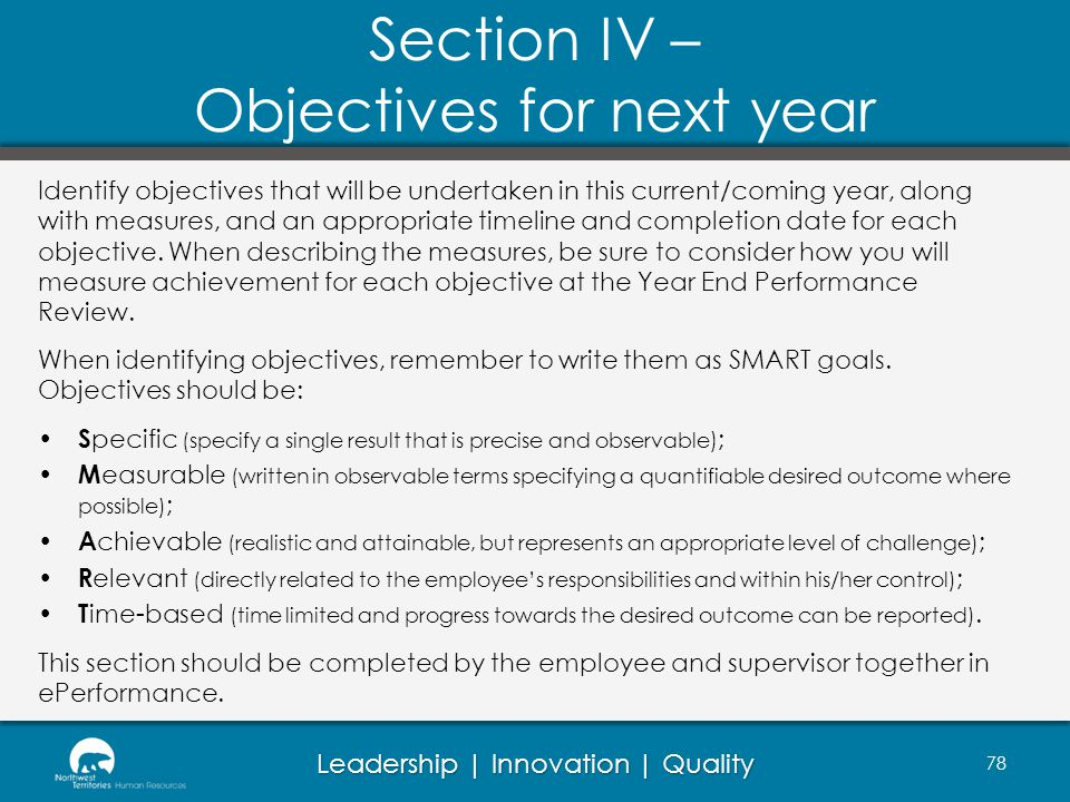 Section IV – Objectives for next year