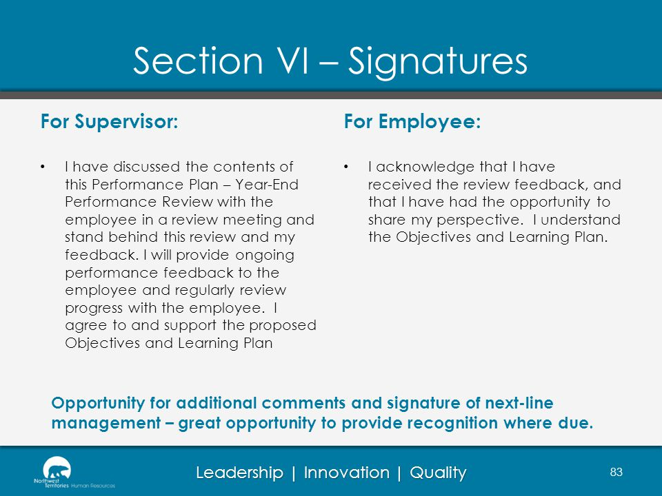 Section VI – Signatures