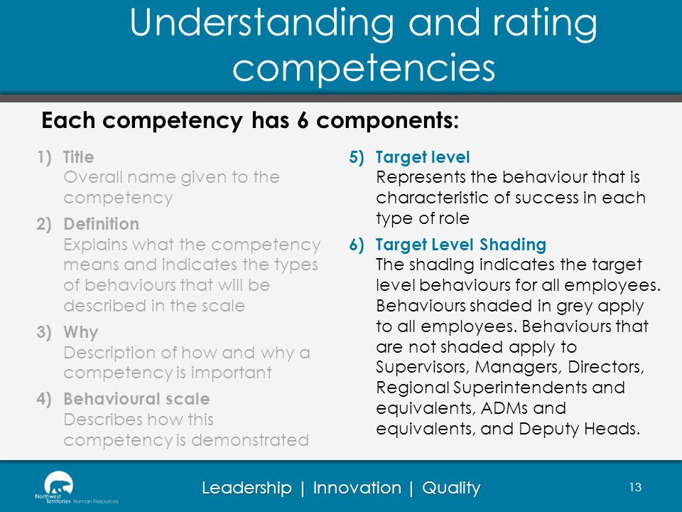 Understanding and rating competencies