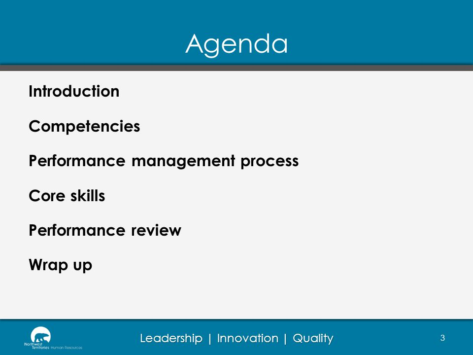 Agenda Introduction Competencies Performance management process Core skills Performance review Wrap up
