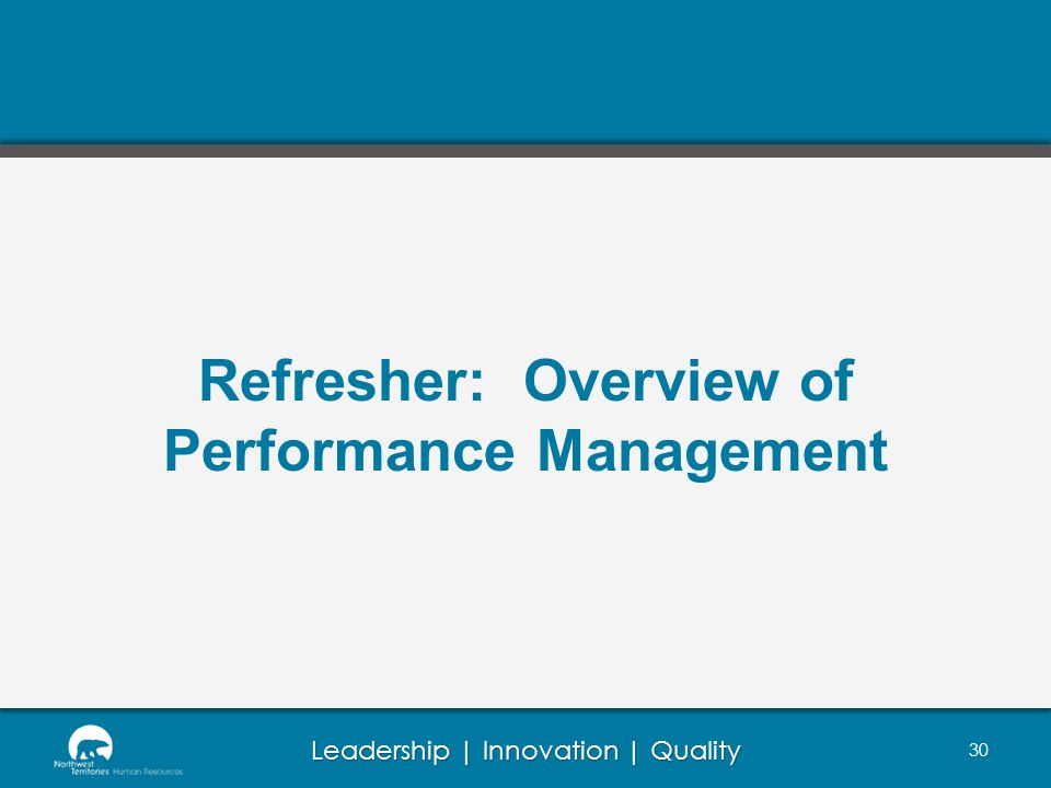 Refresher: Overview of Performance Management