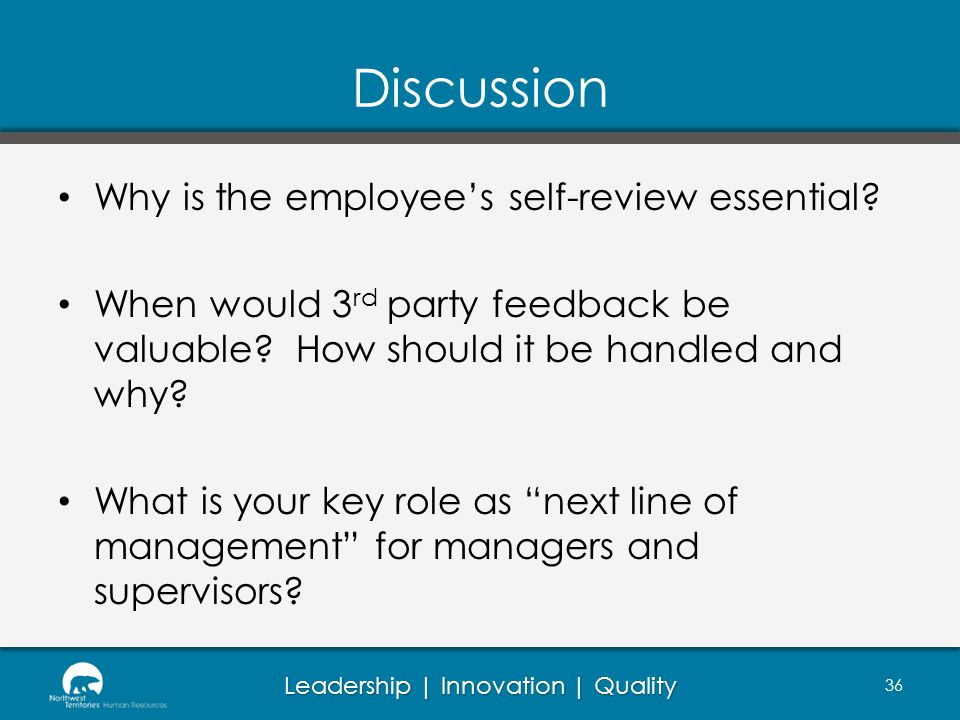 Discussion Why is the employee's self-review essential