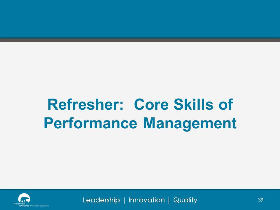 Refresher: Core Skills of Performance Management