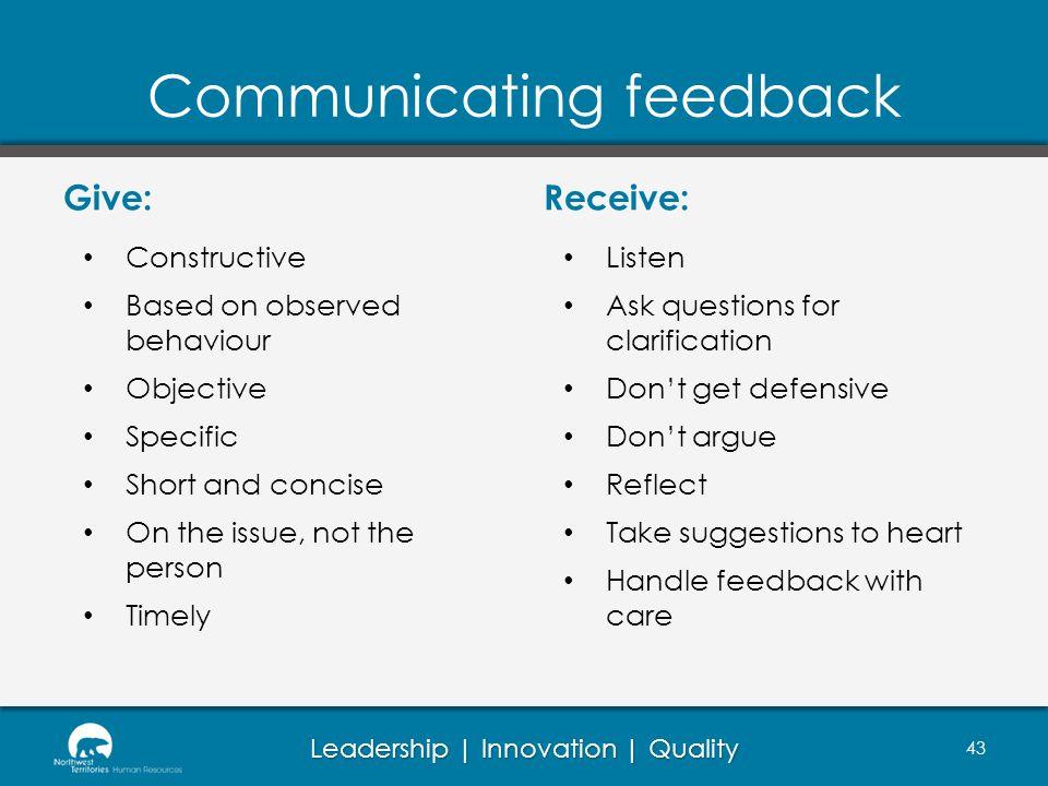 Communicating feedback