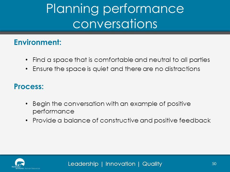 Planning performance conversations