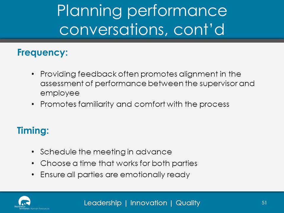 Planning performance conversations, cont'd