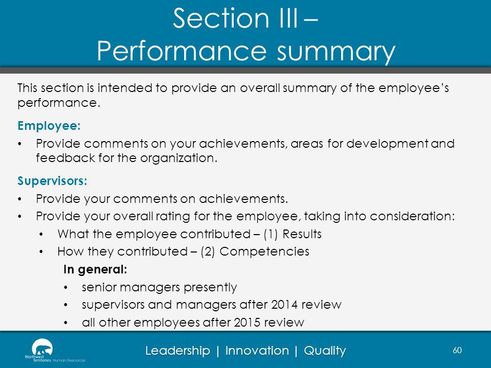 Section III – Performance summary