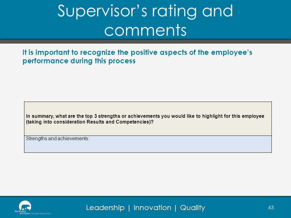 Supervisor's rating and comments
