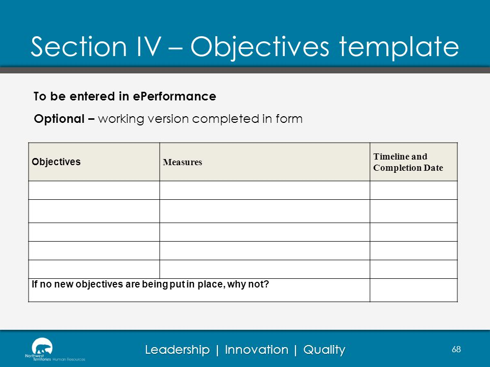 Section IV – Objectives template