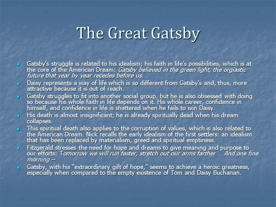 the death of the american dream in the great gatsby