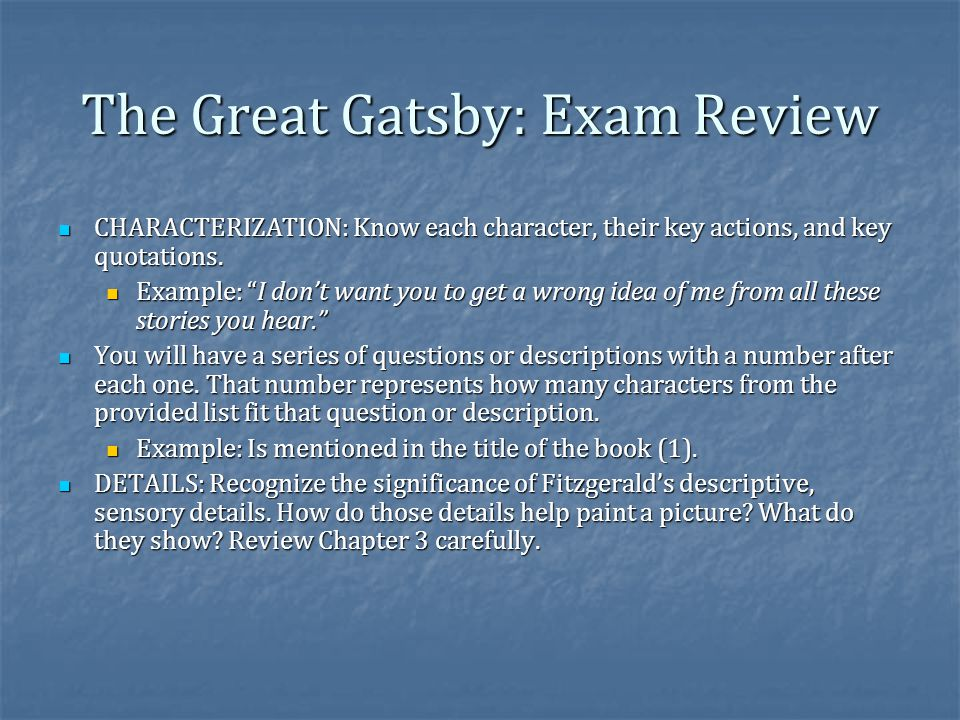 the great gatsby exam essay questions Anyone can earn credit-by-exam regardless of age or education level to learn more, visit the great gatsby chapter 1 questions the great gatsby the great gatsby chapter 6 questions the great gatsby chapter 7 questions the great gatsby chapter 8 questions the great gatsby essay topics.