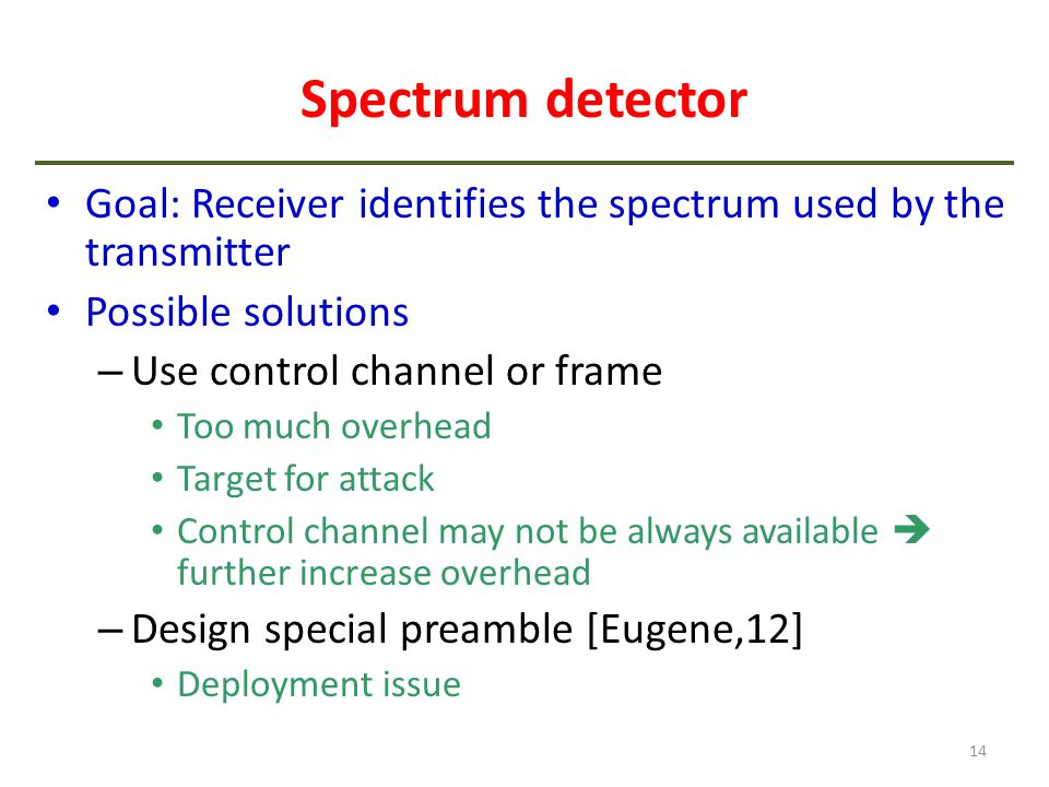 Spectrum detector Goal: Receiver identifies the spectrum used by the transmitter. Possible solutions.