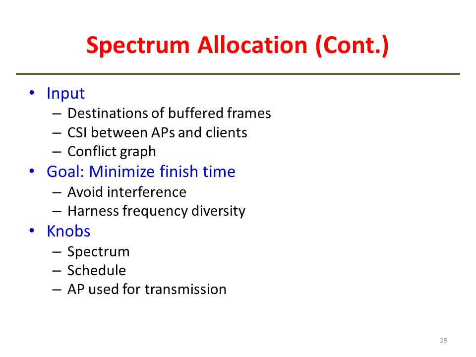 Spectrum Allocation (Cont.)