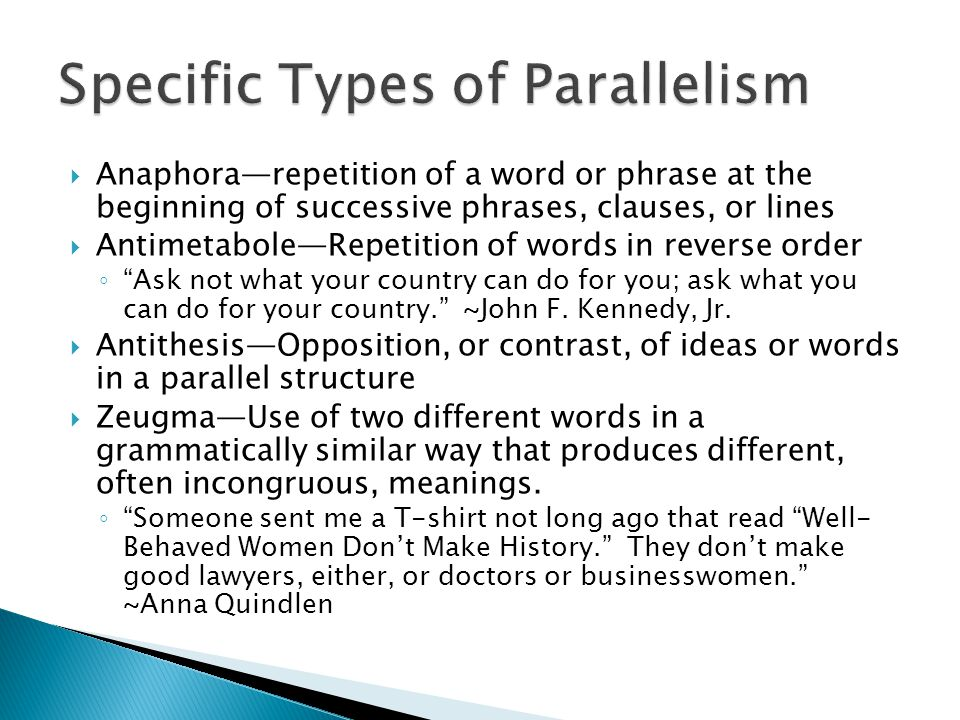 Specific Types of Parallelism