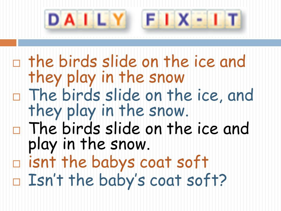 the birds slide on the ice and they play in the snow