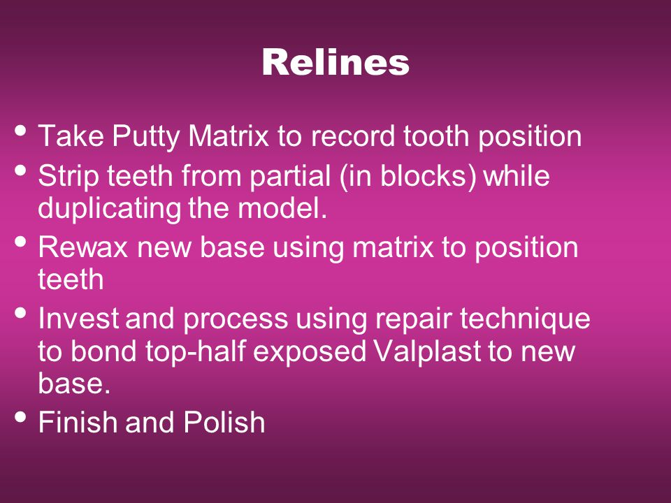 Relines Take Putty Matrix to record tooth position