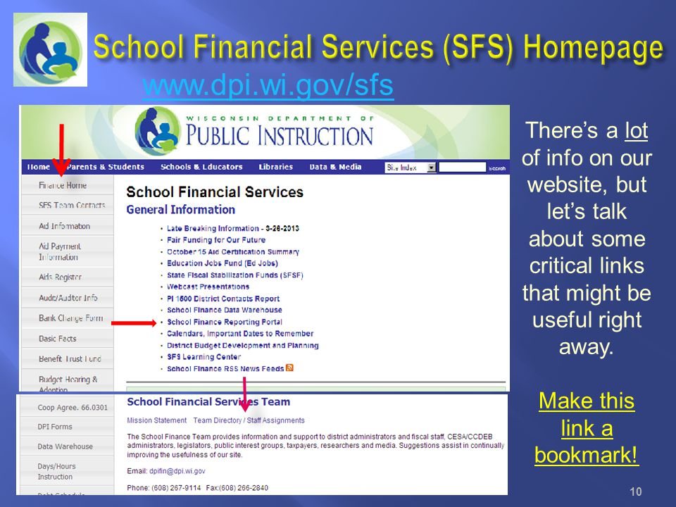 School Financial Services (SFS) Homepage