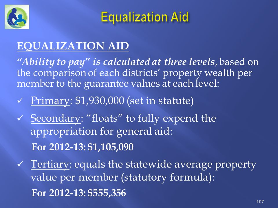 Equalization Aid EQUALIZATION AID Primary: $1,930,000 (set in statute)