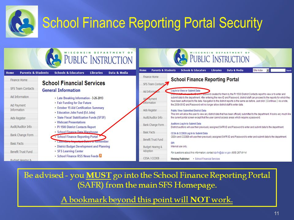 School Finance Reporting Portal Security