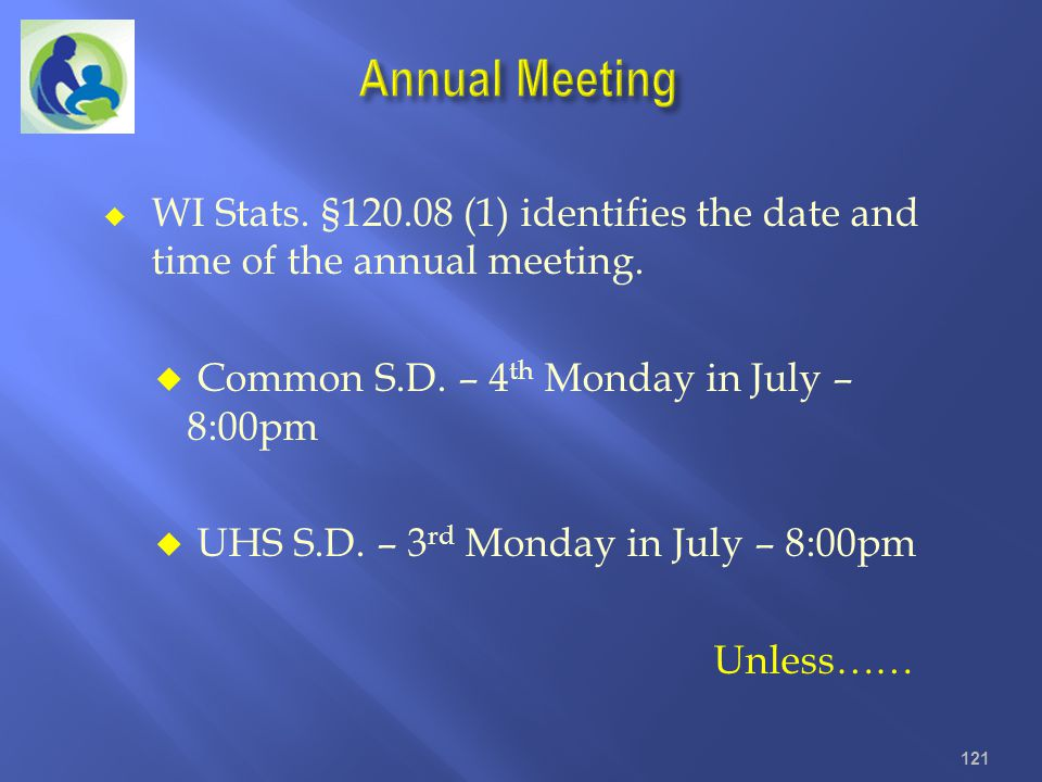 Annual Meeting WI Stats. §120.08 (1) identifies the date and time of the annual meeting. Common S.D. – 4th Monday in July – 8:00pm.