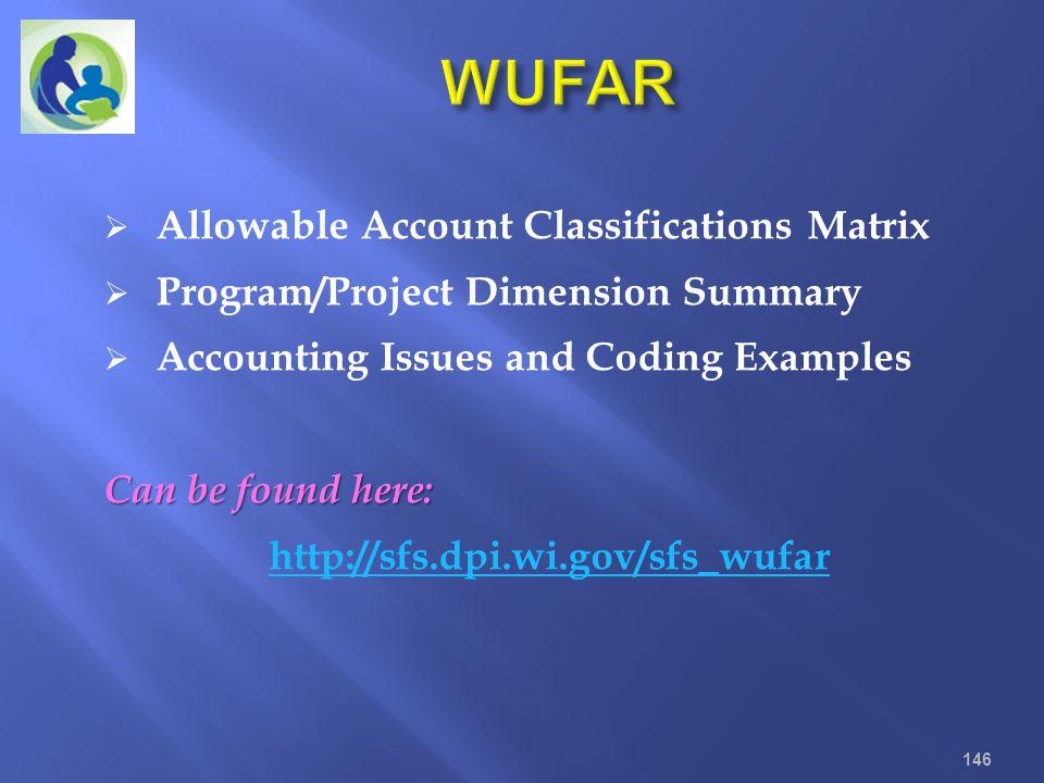WUFAR Allowable Account Classifications Matrix