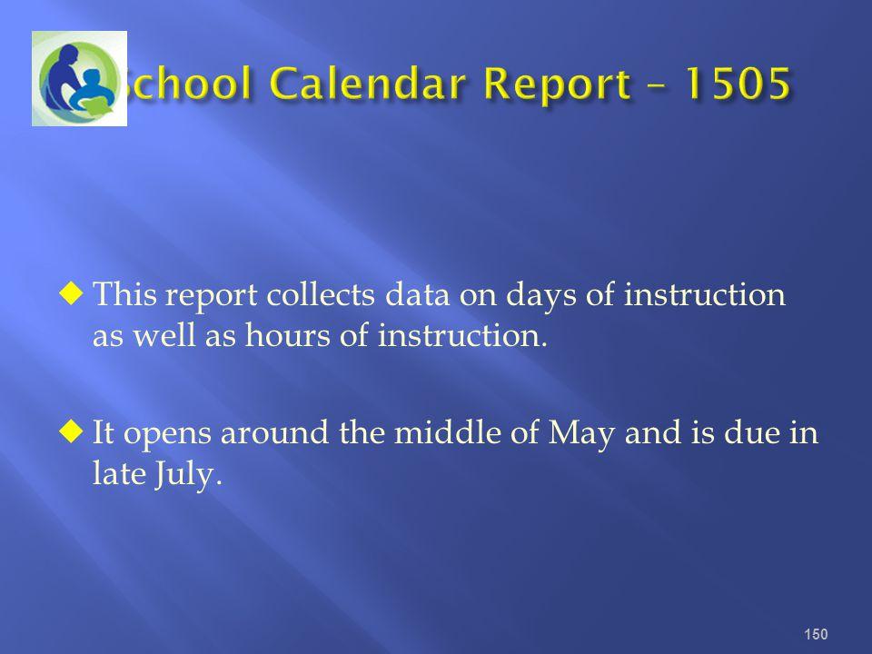 School Calendar Report – 1505