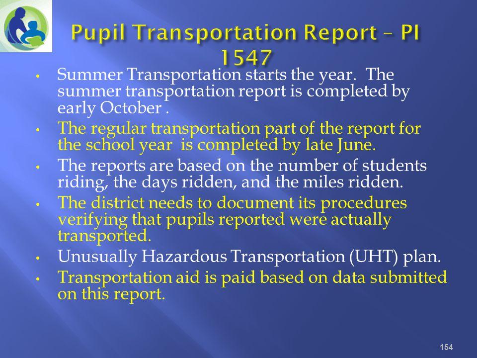 Pupil Transportation Report – PI 1547
