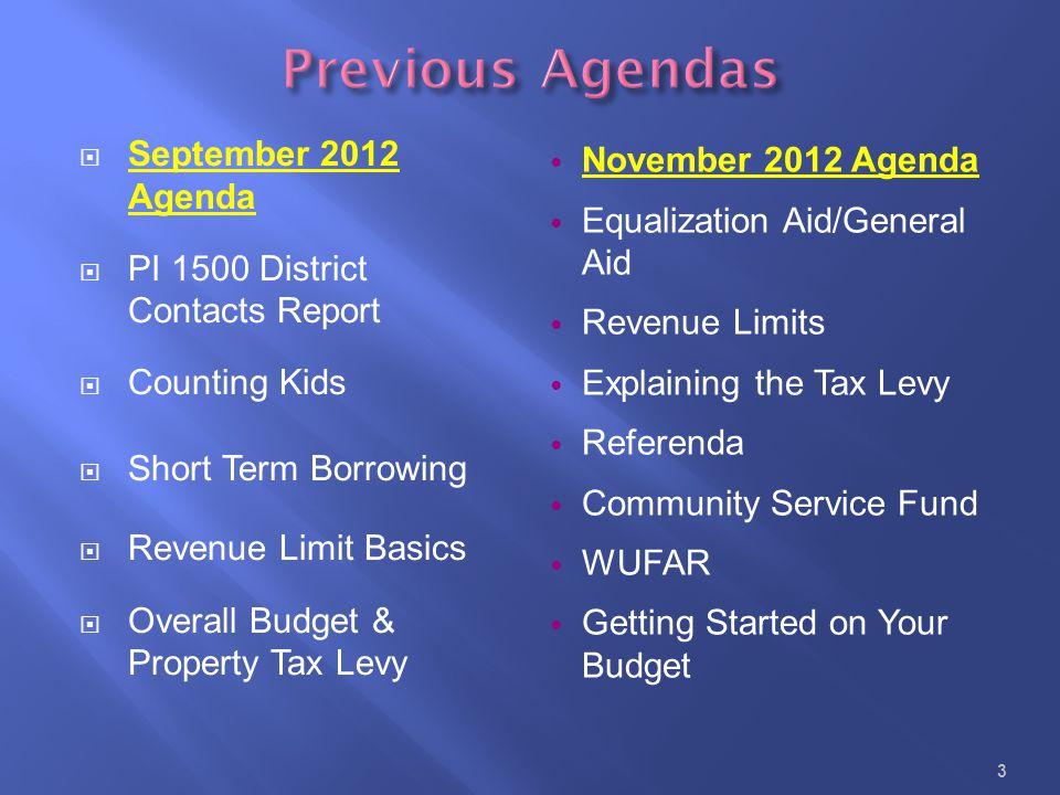 Previous Agendas September 2012 Agenda November 2012 Agenda