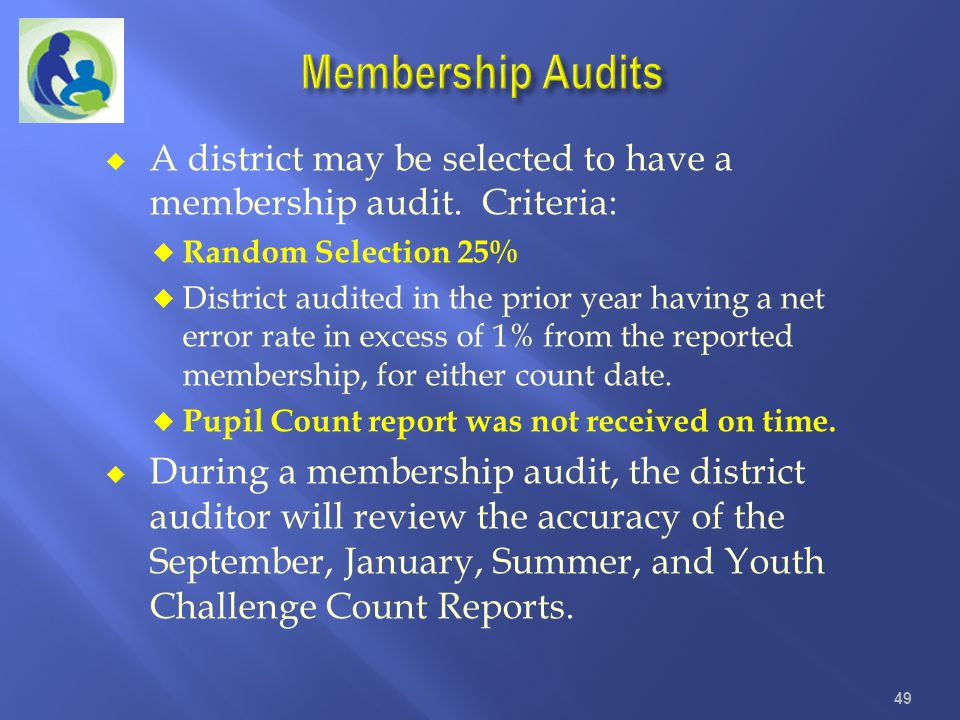 Membership Audits A district may be selected to have a membership audit. Criteria: Random Selection 25%