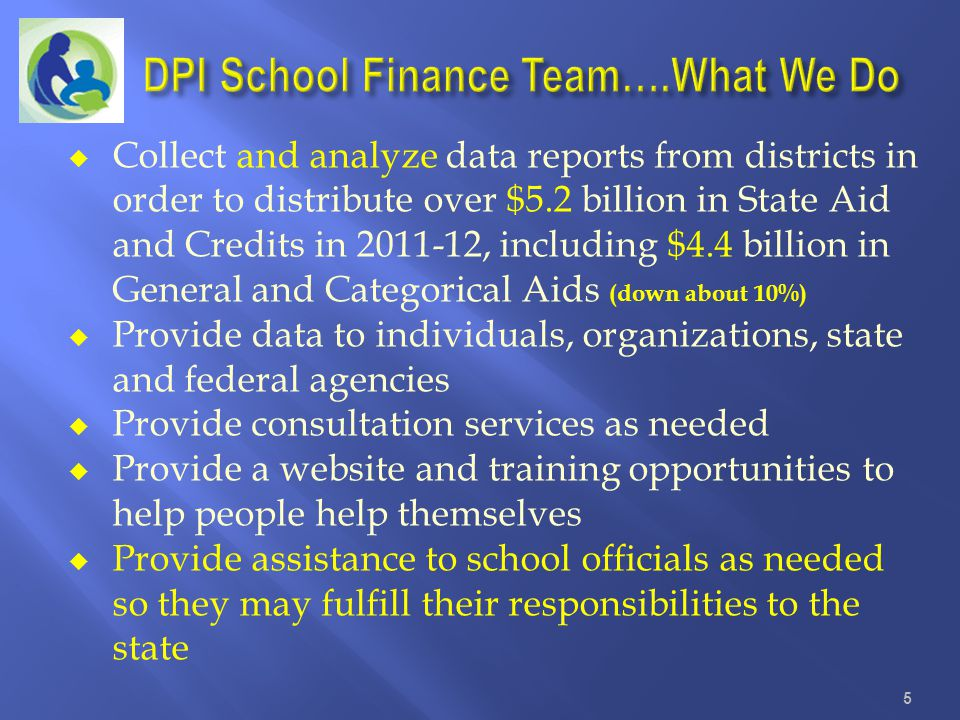 DPI School Finance Team….What We Do