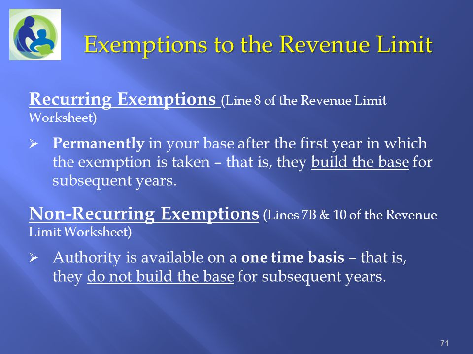 Exemptions to the Revenue Limit