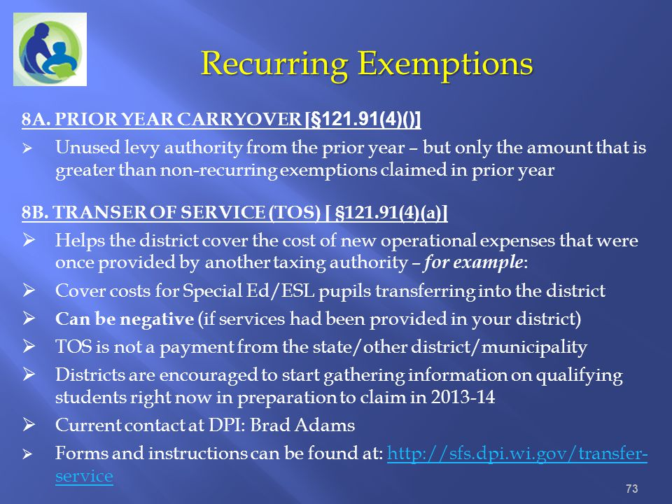 Recurring Exemptions 8A. PRIOR YEAR CARRYOVER [§121.91(4)()]