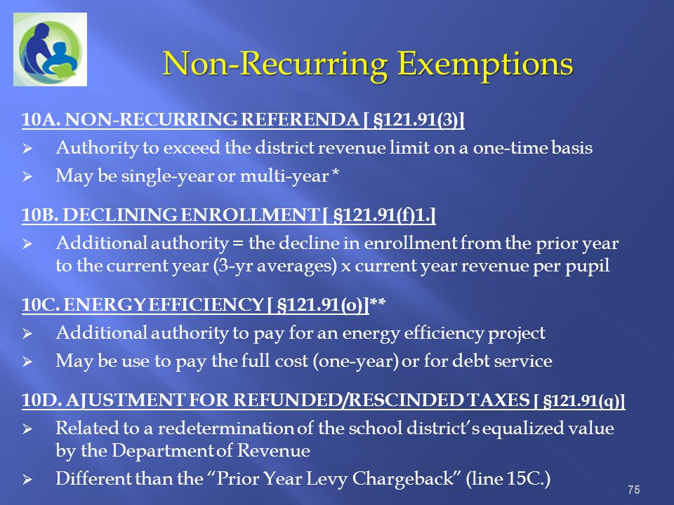 Non-Recurring Exemptions